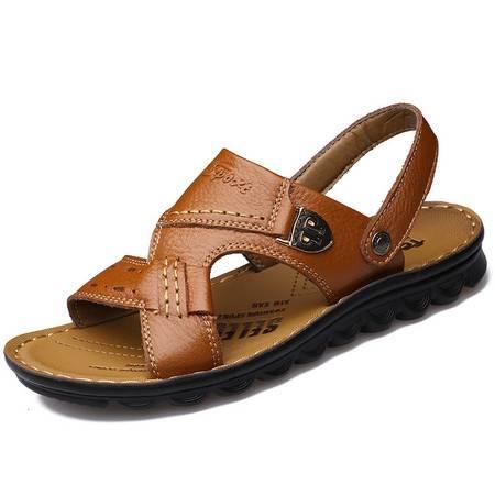 夏季新款男士休闲凉鞋真皮沙滩鞋男凉拖鞋男鞋1189 JST3