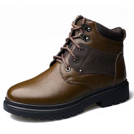 冬季新款保暖加绒雪地靴休闲男士皮鞋时尚潮棉鞋单鞋【*305】JST3
