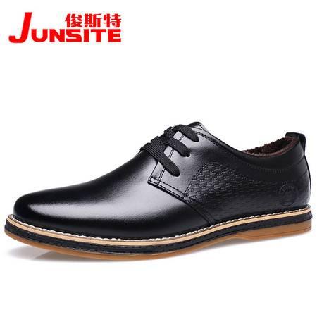 冬季新款男士系带休闲棉鞋加绒真皮男鞋单皮鞋【1103-1】JST3