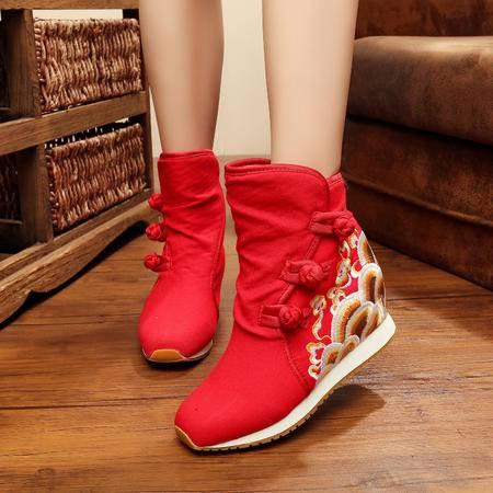 海浪二棉鞋 绣花橡胶牛津底坡跟内增高拉绒内胆女冬短靴YRZP3