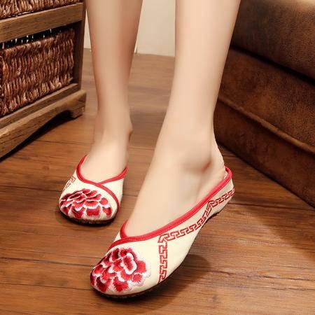 简单快乐 帆布绣花包脚坡跟女拖鞋 单凉拖鞋布鞋YRZP3