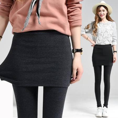 1682 纯棉纯色假两件外穿打底裤裙裤春秋新款包臀连裙长裤子NX31