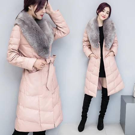 17906冬季新款女韩版毛领皮衣中长款气质羽绒棉服外套女NX31