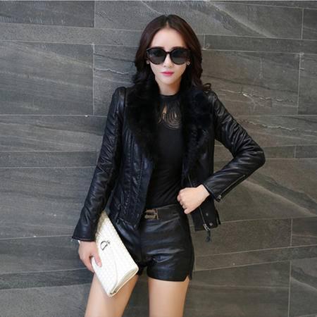 6662冬季韩版女装加绒加厚皮衣短款显瘦Pu皮外套女夹克NX31