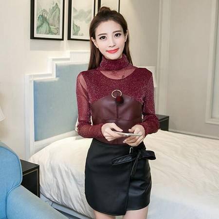 2228秋冬新款女装韩版网纱高领拼皮显瘦套头打底衫上衣NX31