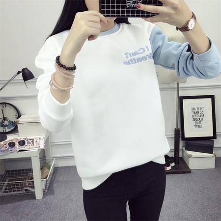 2120秋冬新款韩版字母加绒加厚绒衫学生宽松圆领卫衣女NX31