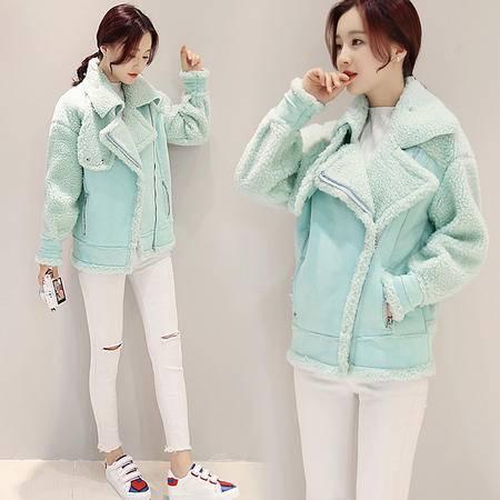 T5821秋冬季韩版新款女装短款外套鹿皮绒拼接外套女潮NX31