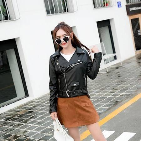 9628()秋装新款欧美潮范夹克短款翻领皮衣外套上衣NX31