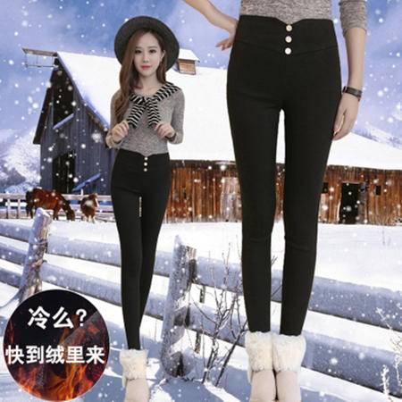 1109-1冬新款加绒加厚打底裤女韩版高腰显瘦黑色小脚裤NX31