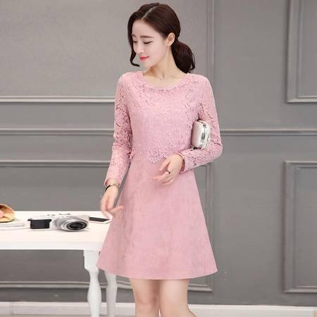 6332连衣裙女秋装新款女装韩版修身拼接蕾丝长袖裙子中长款NX31