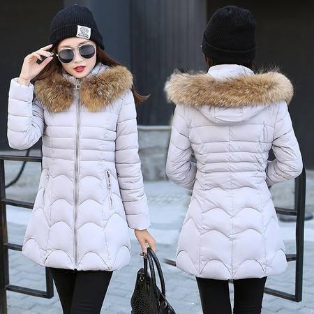 316冬季新款韩版修身大毛领中长款加厚棉衣女外套NX31
