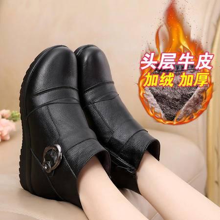 真皮妈妈棉鞋中老年女棉鞋奶奶棉鞋真皮棉鞋308SMX