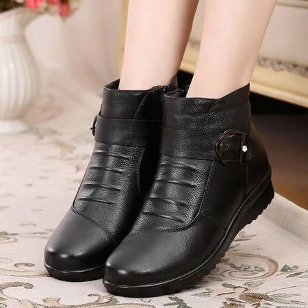 真皮妈妈棉鞋中老年女棉鞋奶奶棉鞋真皮棉鞋311SMX