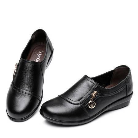 妈妈鞋单鞋老年人鞋女中年真皮软底女鞋平跟大码SMX