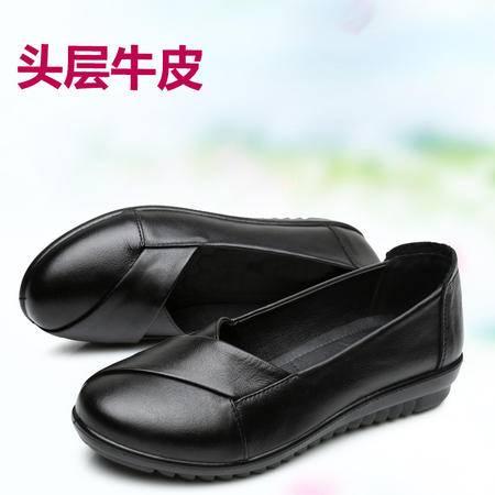 妈妈鞋单鞋真皮软底防滑中年女鞋中老年单鞋鞋03SMX
