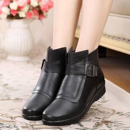 真皮妈妈棉鞋中老年女棉鞋奶奶棉鞋真皮棉鞋307 SMX