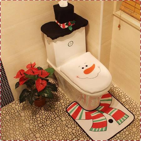圣诞节装饰用品 雪人马桶三件套 圣诞节装饰道具 圣诞马桶套