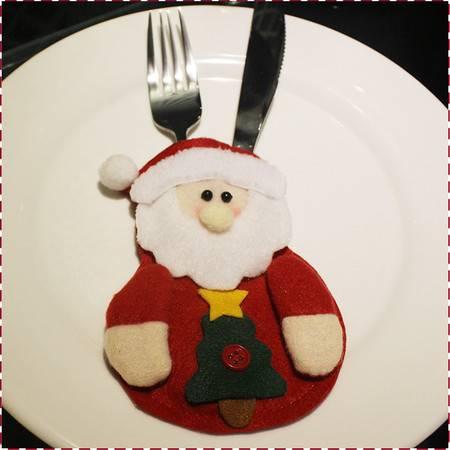 圣诞刀叉袋 刀叉套 圣诞节装饰品 圣诞用品 圣诞老人餐桌餐具套