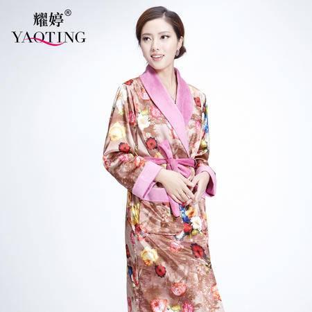 【预售】6101珊瑚绒睡衣浴袍女士长袖保暖家居服冬季法兰绒女士长款睡袍YTSY