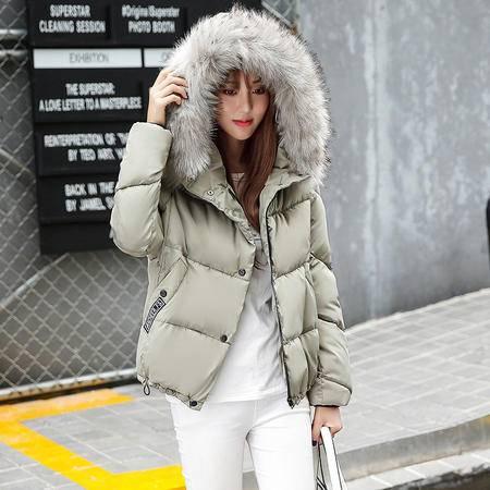 613冬新款韩版大毛领刺绣棉服女加厚保暖面包服NX32