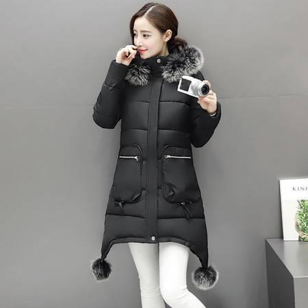 6631冬季新款韩版大毛领服女中长款加厚大码修身棉服NX32