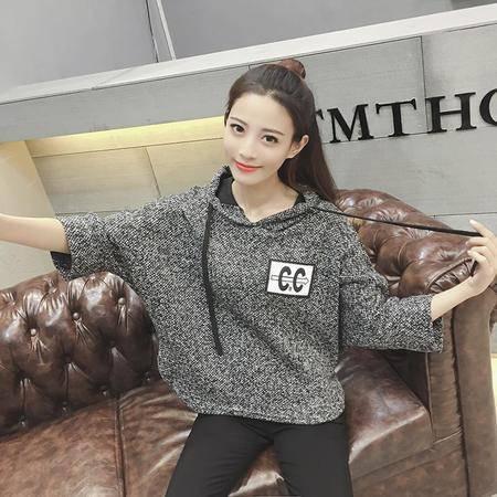 9261韩版时尚针织衫宽松连帽套头七分袖上衣蝙蝠衫外套NX32