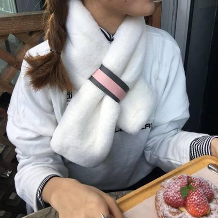 8587秋冬新款时尚韩国chic风保暖的长条毛绒围巾围NX32