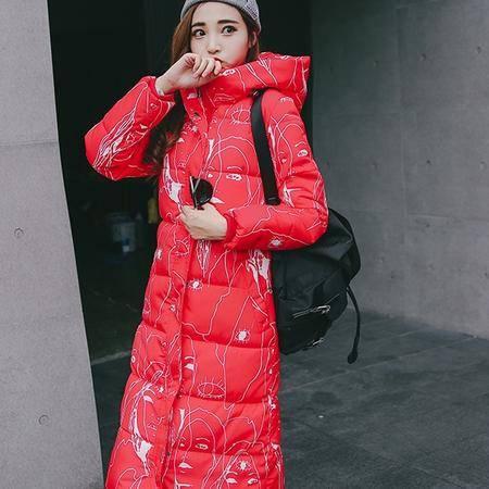8622冬装新款韩版棉服女时尚印花棉衣长款过膝外套NX32