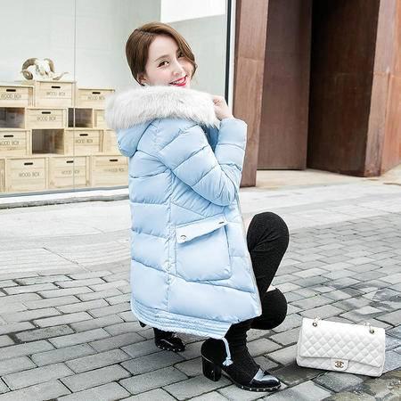 360冬季女装新款韩版中长款棉服大码直筒长袖羽绒服女NX33