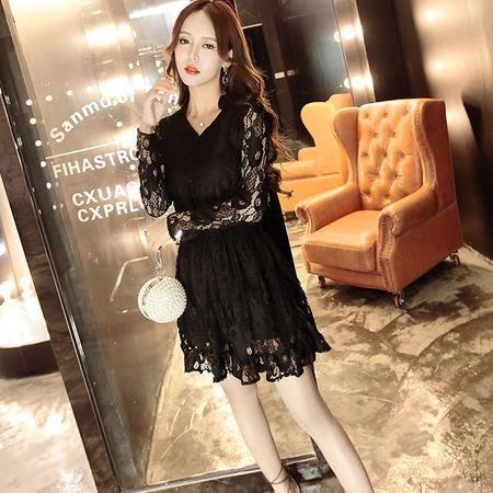9073秋季新款韩版松紧腰打底裙修身长袖蕾丝连衣裙NX32