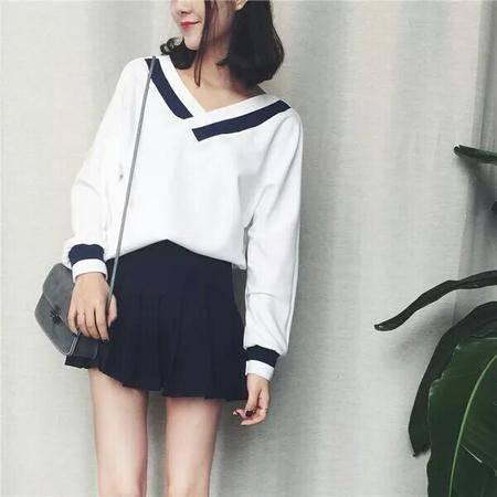 022秋季女装新款韩版宽松显瘦长袖V领T恤休闲百搭上衣学生潮NX32
