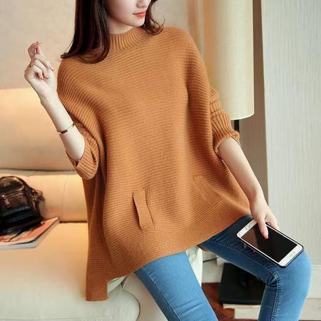 5169秋季新款韩版宽松套头针织衫纯色斗篷毛衣女NX33