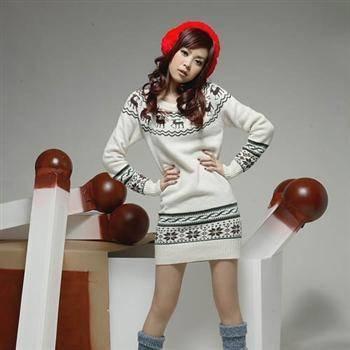 6683新款韩版女装秋冬季中长款大码宽松包臀打底小鹿毛衣NX33