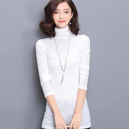 3829秋冬大码网纱打底衫高领韩版修身长袖女上衣中长款t恤NX33