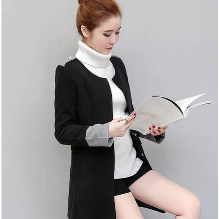 522冬季新款韩版名媛修身显瘦长袖中长款毛呢外套女加棉NX33