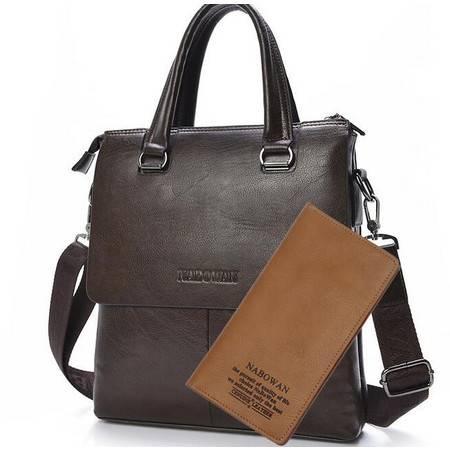 【预售】牛皮男士手提包 双包盖商务包 真皮男包 单肩包DT011-3 NBW