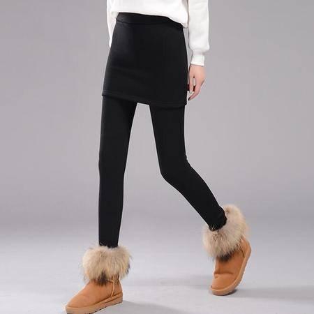 6094#加绒加厚假两件打底裤裙裤冬新紧身包臀带裙小脚裤NX35