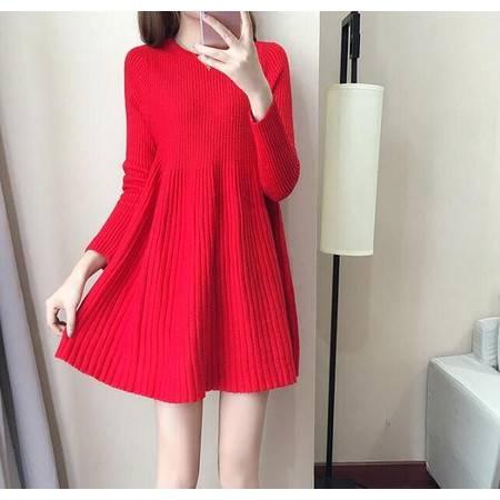 9323#针织韩版中长款毛衣针织连衣裙女NX35