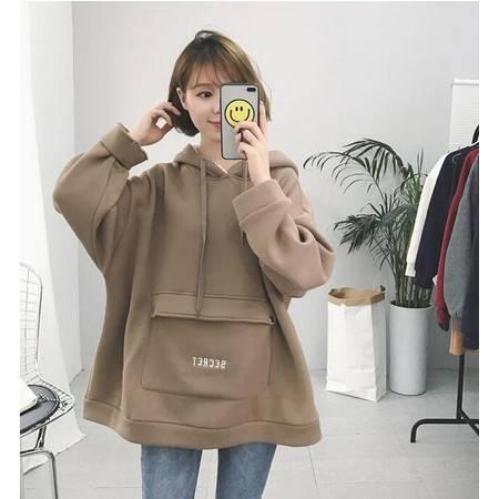 9105#女装韩版宽松大口袋羊羔毛连帽加绒卫衣上衣NX35