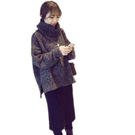 6094#套装裙韩范高领加厚针织毛衣包臀长裙两件套NX35