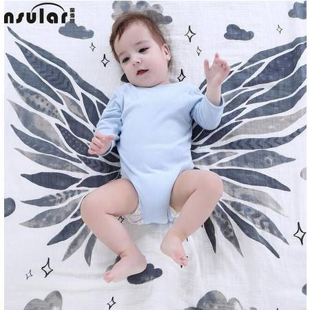 茵秀丽新款纯棉透气纱布包巾婴儿浴巾宝宝抱被新生儿襁褓包被YXL