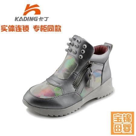 卡丁童鞋女童单靴子 中大童马丁靴 2015秋新款中筒套脚真皮短靴9253029
