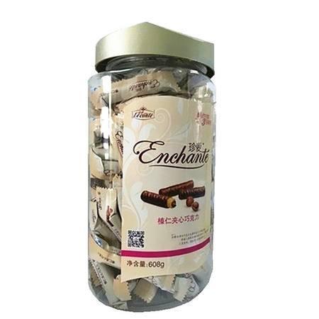 【促销中 金帝】巧克力 金帝珍爱榛仁夹心巧克力608g/罐 特惠家庭装  包邮