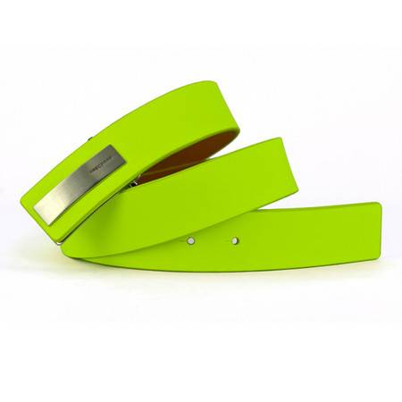 MASCOMMA牛皮时尚炫彩内嵌式板扣皮带 4DMW535 荧光绿
