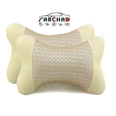 卡饰得(CARCHAD) 米色两拼斑点纹冰丝头枕 吸汗透气汽车颈枕 清爽透气 2个对装