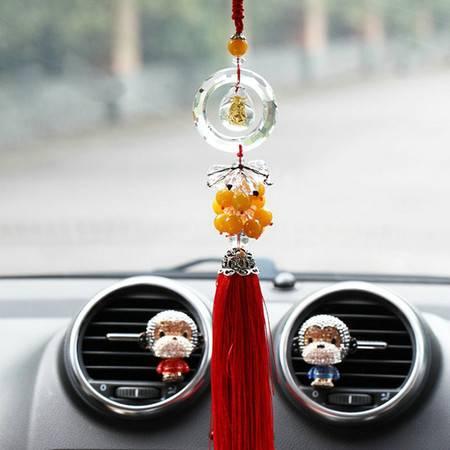卡饰得(CARCHAD) 汽车挂件 水晶镶金佛水滴车挂 平安扣挂饰 水晶珠串