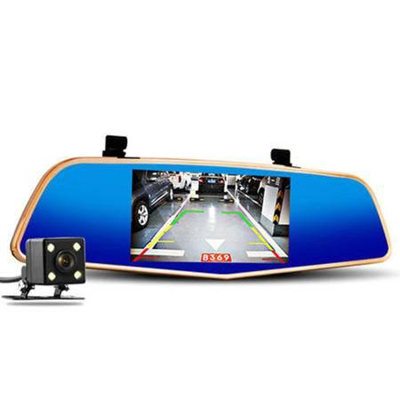 凌度 双镜头行车记录仪 后视镜高清记录仪  带倒车后视镜头 1080P录像 土豪金