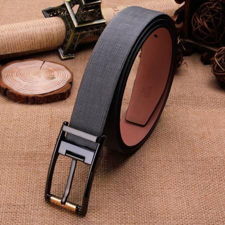 米德尔顿 男士韩版时尚商务真皮针扣皮带进口二层牛皮腰带