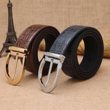 米德尔顿 新款正品 男士牛皮针扣 时尚皮带 头层牛皮休闲款腰带