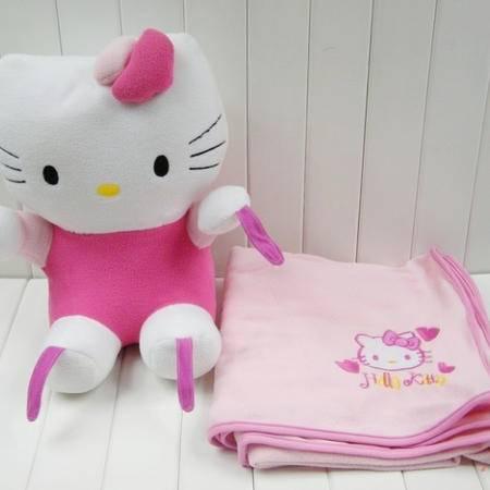 hallo kitty超软珊瑚绒多功能抱枕毯空调毯坐高40厘米毯子100厘米X150厘米